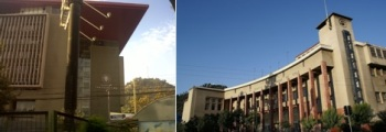 Una mole, un bloque gigante de concreto que tapa el sol a una cuadra y la derecha, la Facultad de  Derecho U. Chile.